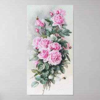 Ramo rosado de los rosas del vintage póster