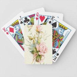 Ramo rosado del vintage de los rosas baraja cartas de poker