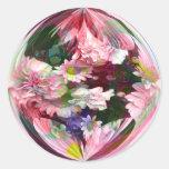 Ramo rosado en el mármol 2 etiquetas redondas