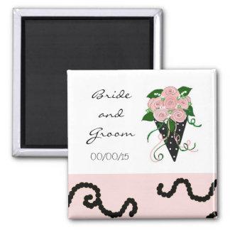 Ramo rosado y negro elegante del boda imán cuadrado