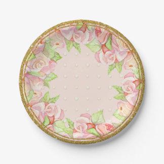 Ramo subió acuarela nupcial de la decoración de la plato de papel de 7 pulgadas