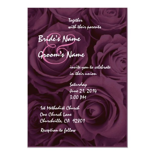 Ramo subió boda púrpura del vino invitación 12,7 x 17,8 cm