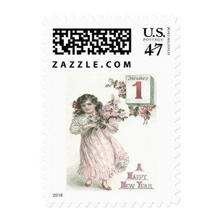 Ramo subió niña linda de los rosas timbres postales