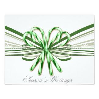 Ramo verde y blanco del bastón de caramelo invitaciones personalizada