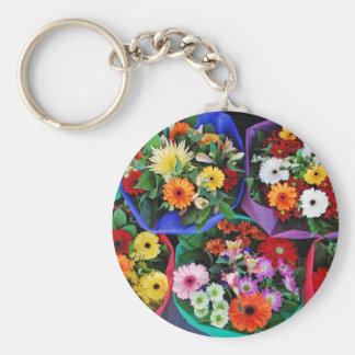 Ramos coloridos de la flor del gerber llaveros personalizados