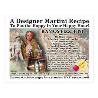 Ramos Fizz Martini Recipe Postcard