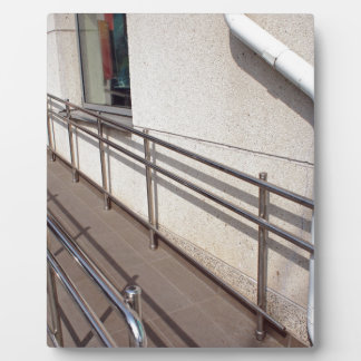 Ramp for physically challenged at the entrance plaque