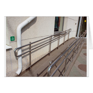 Ramp for physically challenged with metal railing card