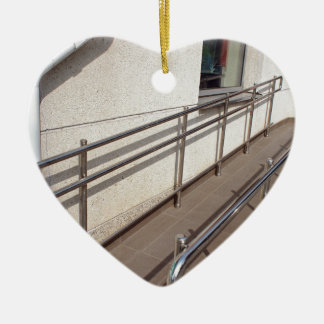 Ramp for physically challenged with metal railing ceramic ornament