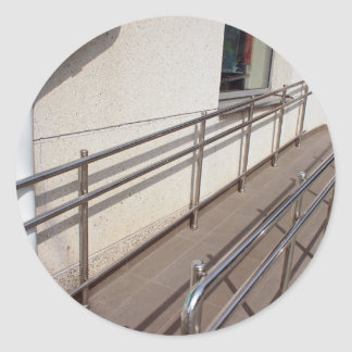 Ramp for physically challenged with metal railing classic round sticker