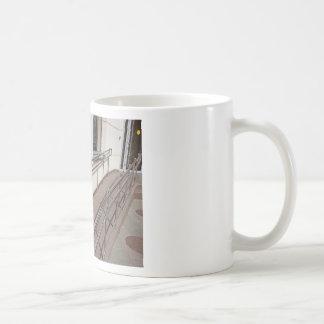 Ramp for physically challenged with metal railing coffee mug