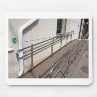 Ramp for physically challenged with metal railing mouse pad