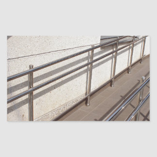 Ramp for physically challenged with metal railing rectangular sticker