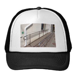 Ramp for physically challenged with metal railing trucker hat