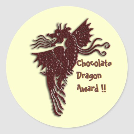Rampant Chocolate Dragon envelope sealers Classic Round Sticker