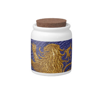 Rampant Lion - gold on blue Candy Jars