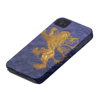 Rampant Lion - gold on blue iPhone 4 Case-Mate Cases