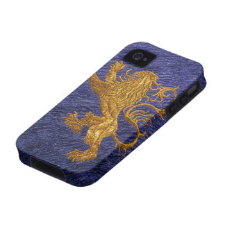 Rampant Lion - gold on blue iPhone 4/4S Covers