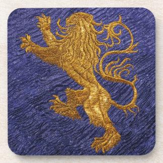 Rampant Lion - gold on blue Coaster