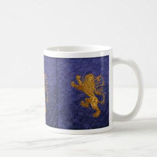 Rampant Lion - gold on blue Coffee Mug
