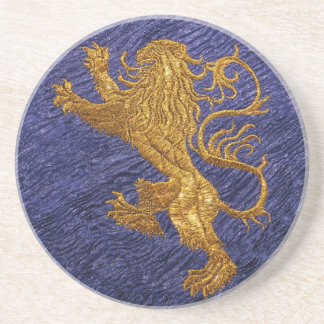 Rampant Lion - gold on blue Drink Coasters