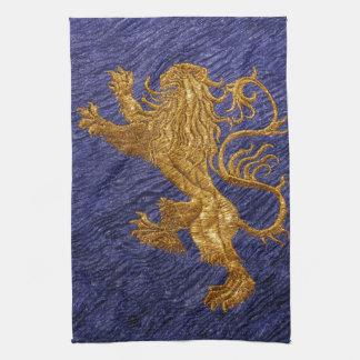 Rampant Lion - gold on blue Hand Towel