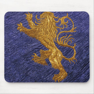 Rampant Lion - gold on blue Mouse Pad