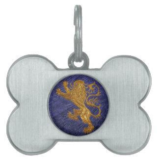 Rampant Lion - gold on blue Pet Tags