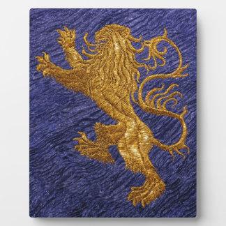 Rampant Lion - gold on blue Photo Plaque