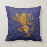 Rampant Lion - gold on blue Pillow