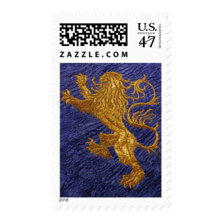 Rampant Lion - gold on blue Postage