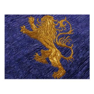 Rampant Lion - gold on blue Postcard