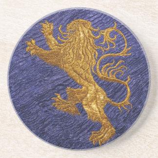 Rampant Lion - gold on blue Sandstone Coaster