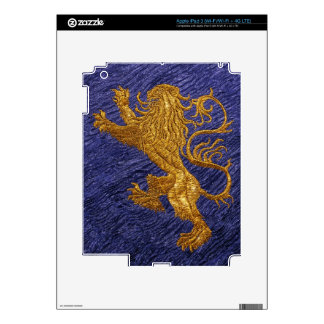 Rampant Lion - gold on blue Skins For iPad 3