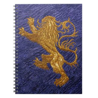Rampant Lion - gold on blue Spiral Notebooks