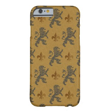 linda_mn Rampant Lions and Fleurs on Gold Barely There iPhone 6 Case