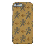 Rampant Lions and Fleurs on Gold Barely There iPhone 6 Case