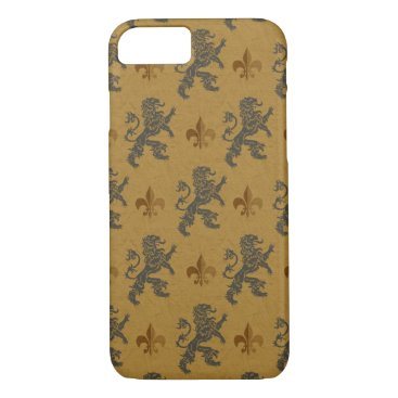 linda_mn Rampant Lions and Fleurs on Gold iPhone 7 Case