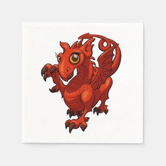 Rampant Little Welsh Baby Red Dragon Cartoon Paper Napkin