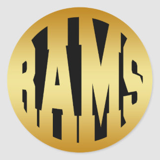 RAMS - GOLD TEXT CLASSIC ROUND STICKER