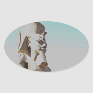 Ramses II Colossus - Luxor Temple photo Oval Sticker