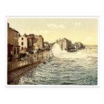 Ramsey, mar agitado, isla del hombre, foto rara de tarjeta postal