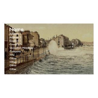 Ramsey, rough sea, Isle of Man, England rare Photo Business Card Templates