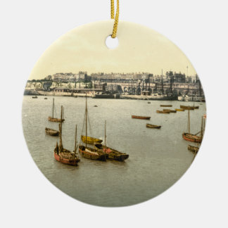 Ramsgate Harbour I, Kent, England Double-Sided Ceramic Round Christmas Ornament