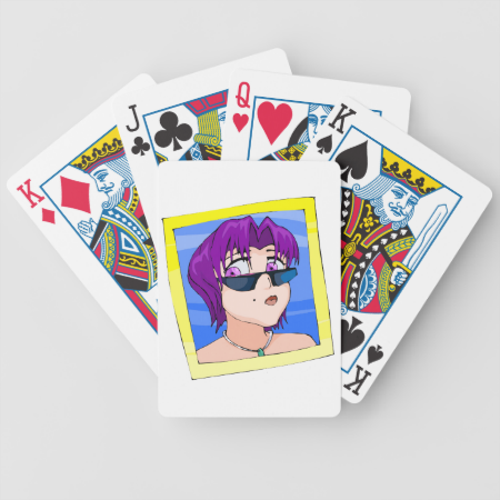 Ran has short green hair purple eyes and sunglasse bicycle card decks