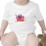 Rana 4ta de los E.E.U.U. de la bandera de la paz Traje De Bebé