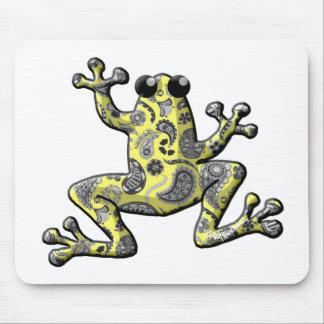 Rana amarilla azul de Paisley Alfombrilla De Ratones