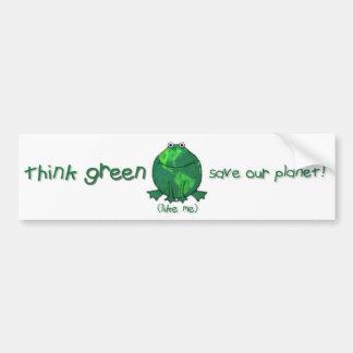 Rana ambiental del Día de la Tierra Pegatina De Parachoque