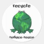 Rana ambiental del Día de la Tierra Pegatina Redonda