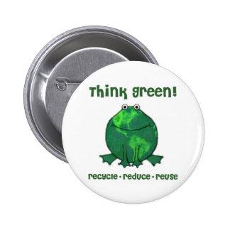 Rana ambiental del Día de la Tierra Pin Redondo 5 Cm